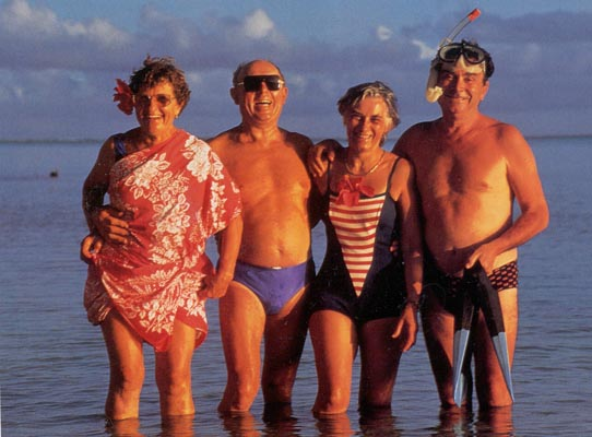 4 seniors on beach